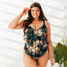 [3 Tier One Piece Swimsuit in Black Blossom by Curvy Swimwear - $143.00]